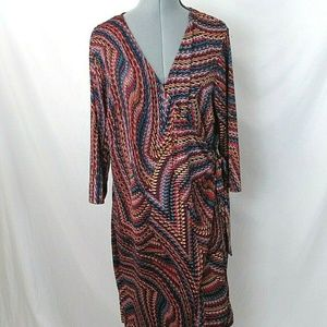 SoHo Apparel LTD. Wrap Dress 2X Geo Swirl Print
